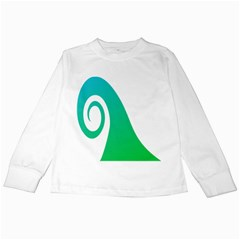 Line Green Wave Kids Long Sleeve T-Shirts