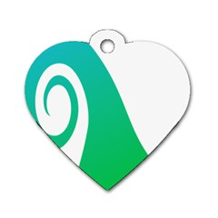 Line Green Wave Dog Tag Heart (One Side)