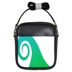 Line Green Wave Girls Sling Bags