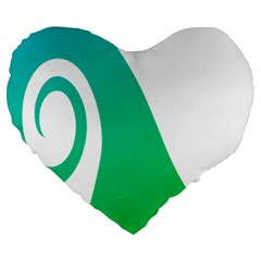 Line Green Wave Large 19  Premium Heart Shape Cushions