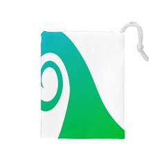 Line Green Wave Drawstring Pouches (Medium)