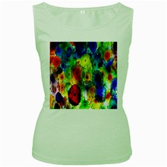Green Jellyfish Yellow Pink Red Blue Rainbow Sea Women s Green Tank Top