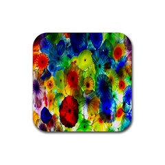 Green Jellyfish Yellow Pink Red Blue Rainbow Sea Rubber Coaster (square)