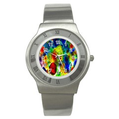 Green Jellyfish Yellow Pink Red Blue Rainbow Sea Stainless Steel Watch