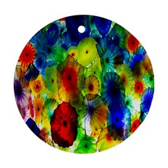 Green Jellyfish Yellow Pink Red Blue Rainbow Sea Round Ornament (Two Sides)