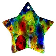 Green Jellyfish Yellow Pink Red Blue Rainbow Sea Star Ornament (Two Sides)
