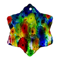 Green Jellyfish Yellow Pink Red Blue Rainbow Sea Ornament (Snowflake)