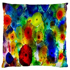 Green Jellyfish Yellow Pink Red Blue Rainbow Sea Large Cushion Case (Two Sides)