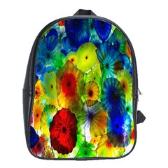 Green Jellyfish Yellow Pink Red Blue Rainbow Sea School Bags (XL)