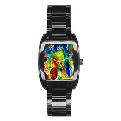 Green Jellyfish Yellow Pink Red Blue Rainbow Sea Stainless Steel Barrel Watch