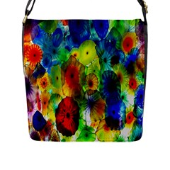 Green Jellyfish Yellow Pink Red Blue Rainbow Sea Flap Messenger Bag (L)