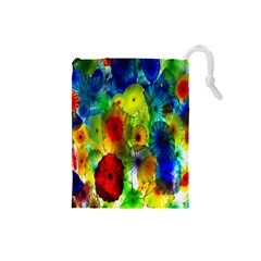 Green Jellyfish Yellow Pink Red Blue Rainbow Sea Drawstring Pouches (Small)