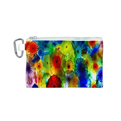 Green Jellyfish Yellow Pink Red Blue Rainbow Sea Canvas Cosmetic Bag (S)