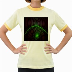 Light Cells Colorful Space Greeen Women s Fitted Ringer T-Shirts