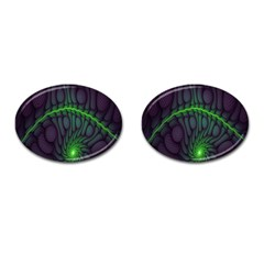 Light Cells Colorful Space Greeen Cufflinks (Oval)