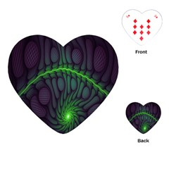 Light Cells Colorful Space Greeen Playing Cards (Heart)