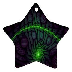 Light Cells Colorful Space Greeen Star Ornament (Two Sides)