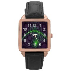 Light Cells Colorful Space Greeen Rose Gold Leather Watch