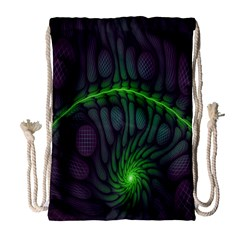 Light Cells Colorful Space Greeen Drawstring Bag (Large)