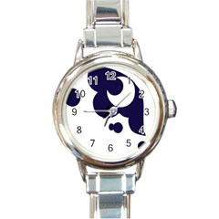 Month Blue Round Italian Charm Watch