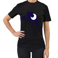 Month Blue Women s T-Shirt (Black) (Two Sided)