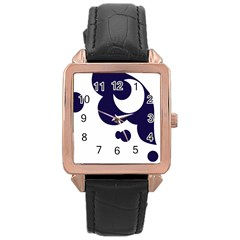 Month Blue Rose Gold Leather Watch