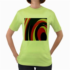 Mixing Gray Orange Circles Women s Green T Shirt