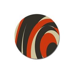 Mixing Gray Orange Circles Magnet 3  (Round)