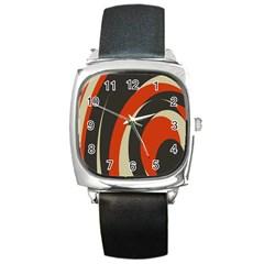Mixing Gray Orange Circles Square Metal Watch