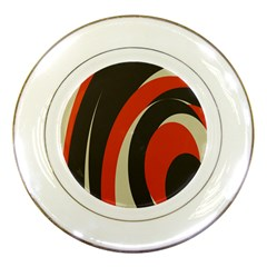 Mixing Gray Orange Circles Porcelain Plates