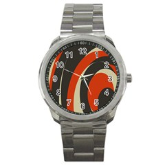 Mixing Gray Orange Circles Sport Metal Watch