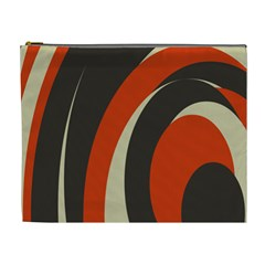 Mixing Gray Orange Circles Cosmetic Bag (XL)