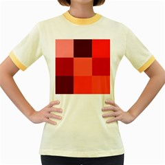 Red Flag Plaid Women s Fitted Ringer T Shirts