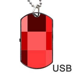 Red Flag Plaid Dog Tag USB Flash (Two Sides)