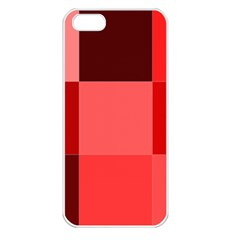 Red Flag Plaid Apple iPhone 5 Seamless Case (White)