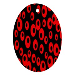 Scatter Shapes Large Circle Black Red Plaid Triangle Ornament (Oval)