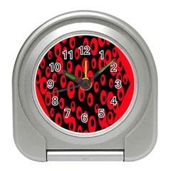 Scatter Shapes Large Circle Black Red Plaid Triangle Travel Alarm Clocks