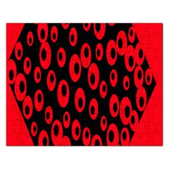Scatter Shapes Large Circle Black Red Plaid Triangle Rectangular Jigsaw Puzzl