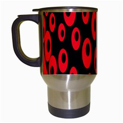 Scatter Shapes Large Circle Black Red Plaid Triangle Travel Mugs (white)