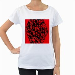 Scatter Shapes Large Circle Black Red Plaid Triangle Women s Loose-Fit T-Shirt (White)