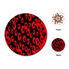 Scatter Shapes Large Circle Black Red Plaid Triangle Playing Cards (Round)
