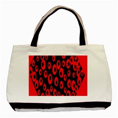 Scatter Shapes Large Circle Black Red Plaid Triangle Basic Tote Bag (two Sides)