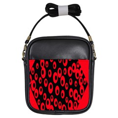 Scatter Shapes Large Circle Black Red Plaid Triangle Girls Sling Bags
