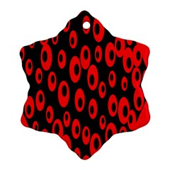 Scatter Shapes Large Circle Black Red Plaid Triangle Ornament (Snowflake)
