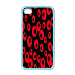 Scatter Shapes Large Circle Black Red Plaid Triangle Apple iPhone 4 Case (Color)