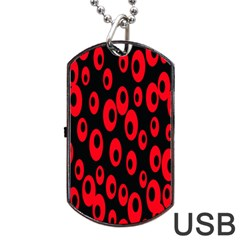 Scatter Shapes Large Circle Black Red Plaid Triangle Dog Tag USB Flash (Two Sides)
