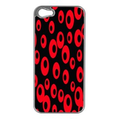 Scatter Shapes Large Circle Black Red Plaid Triangle Apple iPhone 5 Case (Silver)