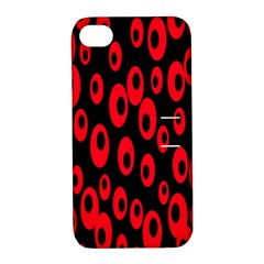 Scatter Shapes Large Circle Black Red Plaid Triangle Apple Iphone 4/4s Hardshell Case With Stand