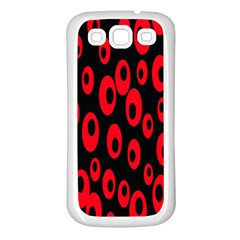 Scatter Shapes Large Circle Black Red Plaid Triangle Samsung Galaxy S3 Back Case (White)