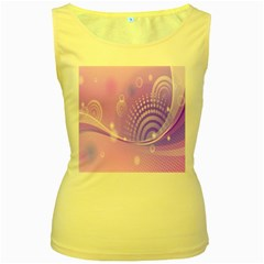 Purple Circle Line Light Women s Yellow Tank Top
